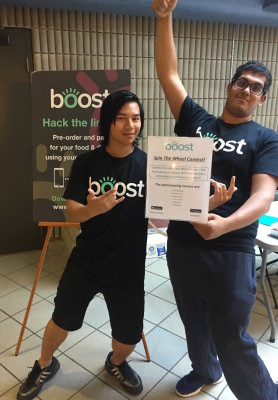 Trevor Dewan and Ray Luk, marketing team for Boost (Photo by Colleen Podmoroff/The Sheridan Sun)