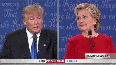 Presidential candidates Donald Trump and Hillary Clinton at the first debate. Photo by NBC.
