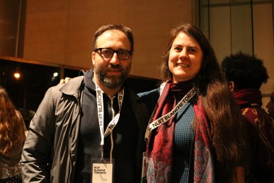 """Trevor Mahovsky (Left) and Rhonda Weppler (Right) displayed their piece """"Museum of Broken Watches"""" at Nuit Blanche"""